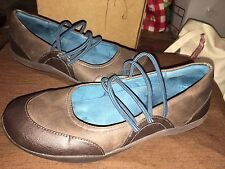 """Orthaheel Women's """"Sasha"""" Brown & Teal Mary Janes Mules Slip On Shoes - Size 8 M"""