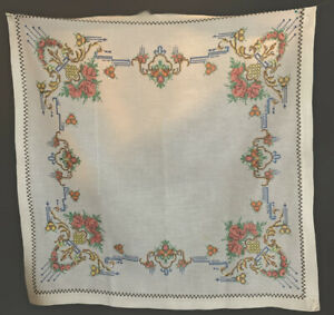 """Vintage Crossstitch/Embroidered Tablecloth Off White Floral 27x28"""""""