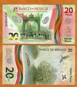 Mexico, 20 Pesos, 2021, Polymer, P-New UNC > Commemorative Independence