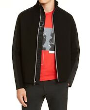 Michael Kors Mens Jacket Black Size Medium M Zip-Front Mixed Media $298 #289