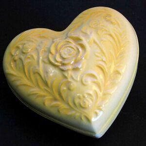 Yellow on White Heart Shaped Rose Trinket Jewelry Box w cover Romantic FREE SH