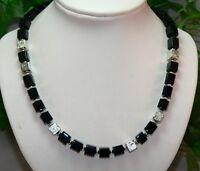 Halskette Würfelkette Kette Lava Würfel schwarz silber Modeschmuck 214 a