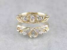Solitaire Enhancer Round Diamond Ring Wrap 14k Yellow Gold Over Wedding Band