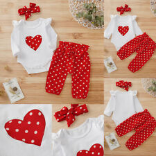 ❤️ Newborn Baby Girls Heart Polka Dot Romper Pants Headband Outfits Clothes Set