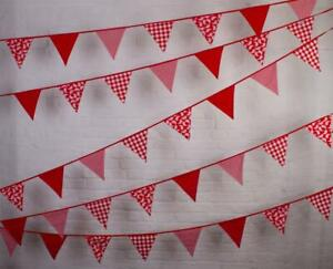 100% Cotton-Shades of Red-10m/33 Double Sided Flags - cotton Bunting Co