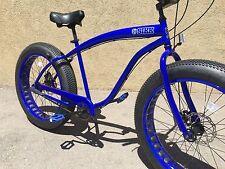 NEW Sikk 3 SPEED🌴Fat Tire Beach Cruiser Bike🌴 Blue w Blue CUTOUT RIMS