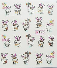"3D Nail Art Sticker Girls ""Easter Bunny Pink Gold Bows Flowers"" Water Decals 173"