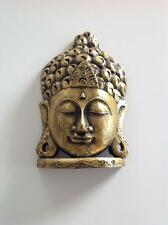 HAND CARVED GOLD PAINTED WOODEN BUDDHA STATUE NEW, 255mm