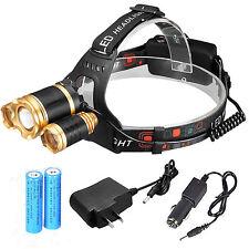 NEW 32000LM ZOOM Headlamp XM-L 3x T6 LED Headlight Head Light 18650 Flashlight