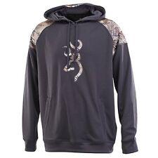NEW Browning Men's Gauge Sweatshirt Pullover Hoodie Heather Nine Iron/Brown XXL