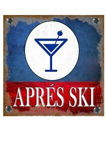 Apres Ski Novelty Metal Wall Sign Skiing  Pub Sign Red Wine Bar Sign Ski Sign