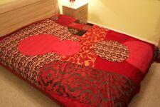 King Size Handmade Kantha Quilt Silk Patchwork Bedspread Wall Hanging Throw
