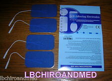 4 NEW Replacement Electrode Pads for Top Tens Units 2 x 3.5 inch Blue Cloth