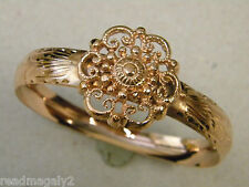 Lady's Women's Rose Gold Plated Flower Pattern Bangle Bracelet New Diamond Cut