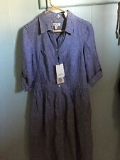 MALVIN HAMBURG-GERMANY 100%LINEN   Dress Size-Large (10) Blue stripes color NVT
