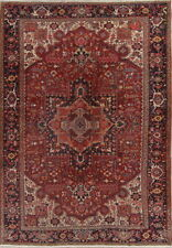Pre-1900 Antique Geometric Red Area Rug Oriental Wool Hand Knotted 9x13