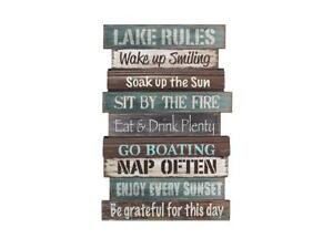 """Wall Sign Decor Lake Rules Cabin Lodge Rustic Indoor Outdoor Gift 23.5"""" NEW"""