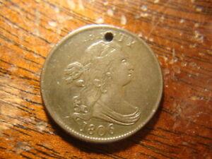 1806 XF AU Micro Hole Draped Bust Half Cent Rotated Reverse MSX