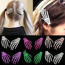 2pcs White Zombie Skull Skeleton Hand Bone Claw Hairpins Hair Clips Halloween