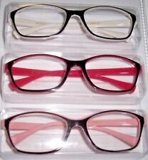 NEW Betsey Johnson 3 PAIRS Reading Glasses White/Pink/Black LAYERS Readers +2.00