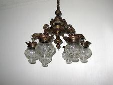 Antik Französische Messing-Glas Putten Kronleuchter, Lüster 6 Flammig