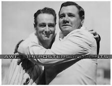 Extremely RARE Lou Gehrig & Babe Ruth 1939's Embrace Photograph Large Reprint