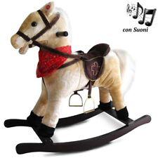 Cavallo a Dondolo Beige Con Suoni Realistici Legno e Peluche Bambini Infanzia