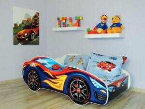 Racing Car Bed RED-BLUE, Children Boys Girls Bed with MATTRESS 140x70cm +pillow