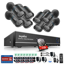 SANNCE 1080N 8CH Channel DVR 1500TVL 720P Outdoor Home Security Camera System 1T