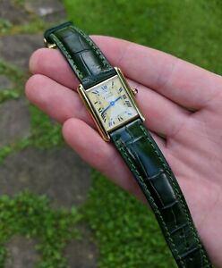 Unisex Must de Cartier Tank 18k Gold over Sterling Silver Vermeil Vintage Watch