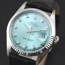VINTAGE MEN'S ROLEX 1601 CAL 1570 PERPETUAL DATEJUST SKY BLUE DIAMOND DIAL WATCH
