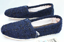 NUEVO Toms Zapatos Mujer Azul Marino Planos Talla 7 Zapatillas Mocasines bouclé