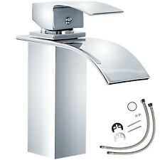 Mitigeur de lavabo chute d'eau cascade évier salle de bain faucet laiton chromé