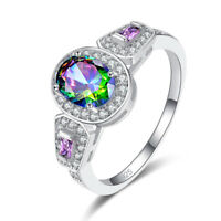Chic Amethyst & Rainbow White Blue Topaz Gemstone Silver Ring Size 6 7 8 9 Gift