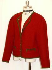 "RED BOILED WOOL JACKET Women AUSTRIA Winter WARM Walk Car Cardigan B42"" 46 12 M"
