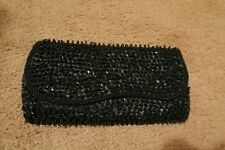 Black satin look 1920s style pretty, unusual evening clutch prom bag with popper