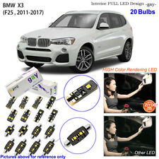 20 Bulbs Deluxe LED Interior Dome Light Kit Xenon White For F25 2011-2017 BMW X3