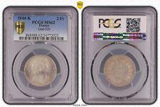 O1857 TRES RARE 2 Francs Louis Philippe 1844 A Paris PCGS MS 62 CI !!!!!!!!!!!!!