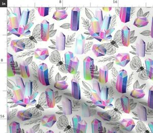Crystals Moths Romantic Rainbow Magical Spoonflower Fabric by the Yard