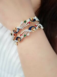 Multicolored  Enameled Peacock Bangle Pair Traditional Fashion Lovely Lady Gift