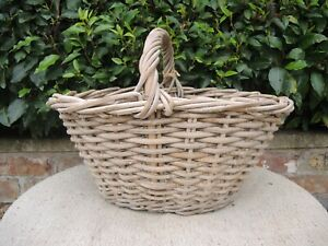 Vintage  Wicker and  Metal Wire Garden Basket Vegetable Basket  (728)