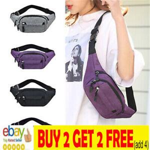 Men Women Canvas Waist Bum Bag Fajhy Pack Travel Money Belt Pouch Wallet NL