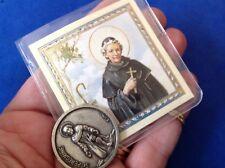 St PEREGRINE Agatha HEALING Silver Metal Saint Pocket TOKEN Case Prayer Cancer