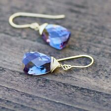 Color Change Alexandrite Briolette Wire Wrapped Earrings 14K Yellow Gold Filled