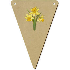 5 x 140mm 'Daffodils' Wooden Bunting Flags (BN00066489)