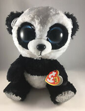 "2019 Ty Beanie Boos 6"" BAMBOO the Panda Bear (Silver Feet) Animal Plush Toy MWMT"