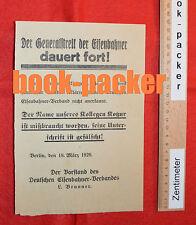 Original Flugblatt Kapp-Putsch (1920): GENERALSTREIK DER EISENBAHNER DAUERT AN