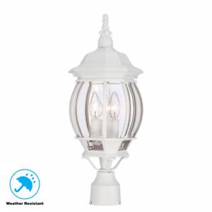 White Outdoor Post Light Aluminum 3-Light w/ Beveled Glass Garden Lighting Décor