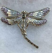 Purple Enamel with Silver Pave Crystals in Dragonfly Pin Brooch