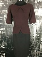 Veronika Maine Dress, Size 8, Burgundy & Grey, Work Wear/Evening